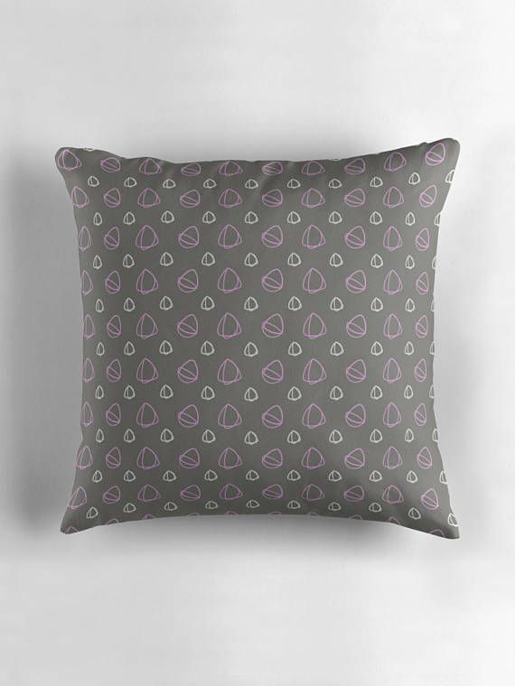 Grey Cushion Grey Pillow Cushion Grey and pink throw