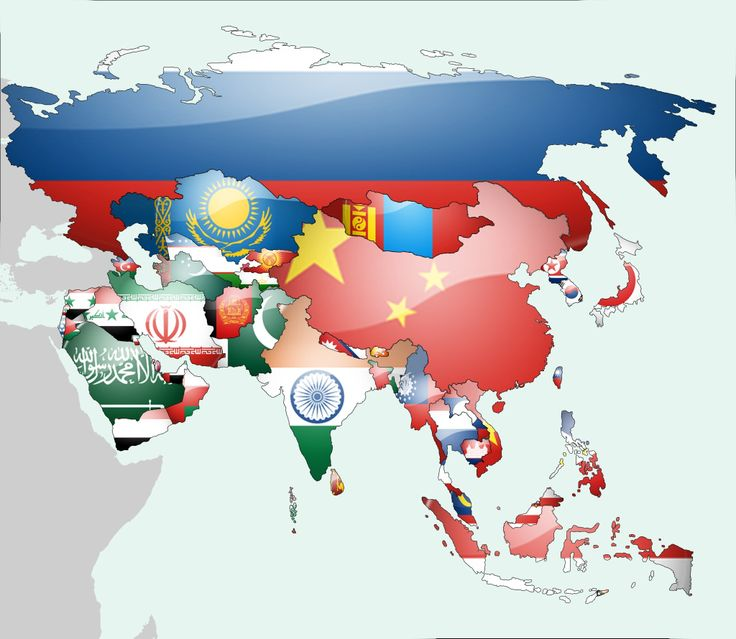 Map of Asia by Flags