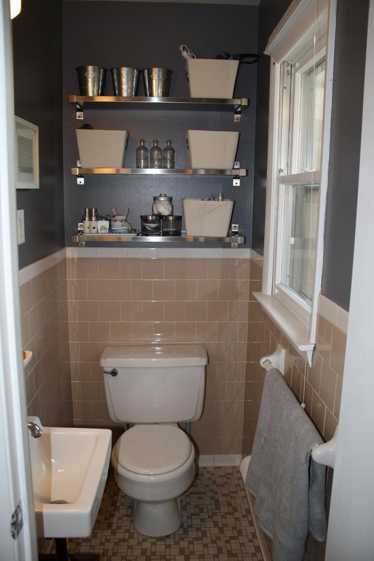 Peach Tile Bathroom With Grey Walls Plus Fun Shiny Shelves