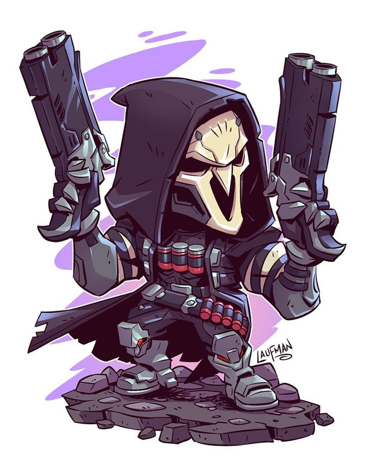"Derek Laufman on Instagram: ""Finished Reaper. This was a fun character to draw. I'll have prints up for sale once I complete a set of 4. #chibi #overwatch #reaper…"""