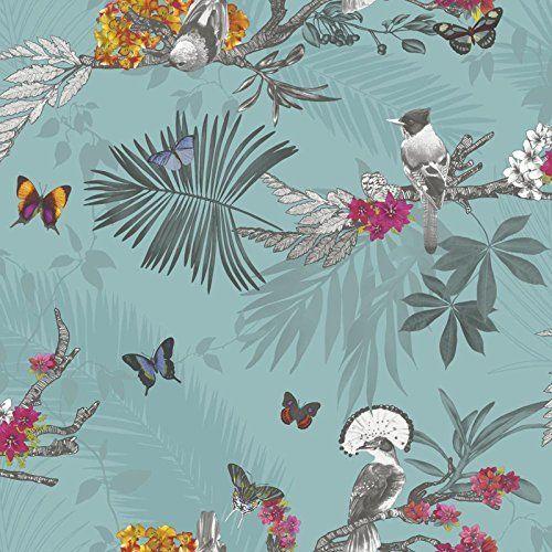 Arthouse - Papier peint forêt mystique feuille oiseau papillon - Bleu sarcelle 664801, http://www.amazon.fr/dp/B00WJP6MA6/ref=cm_sw_r_pi_awdl_LLVsxbJ8WCE6B