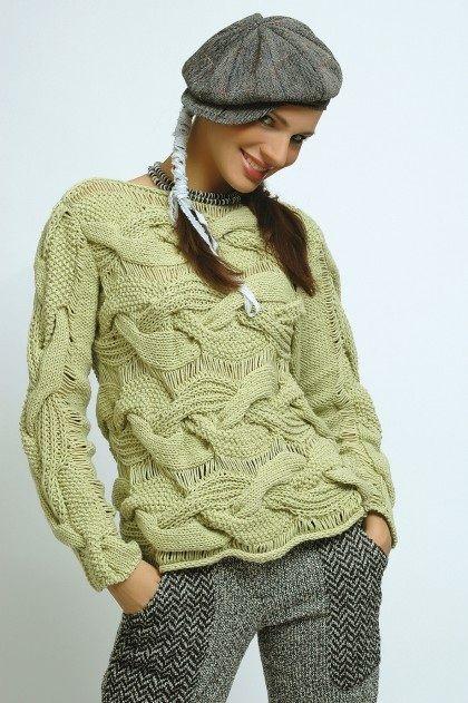 вязаный пуловер с косами FREE