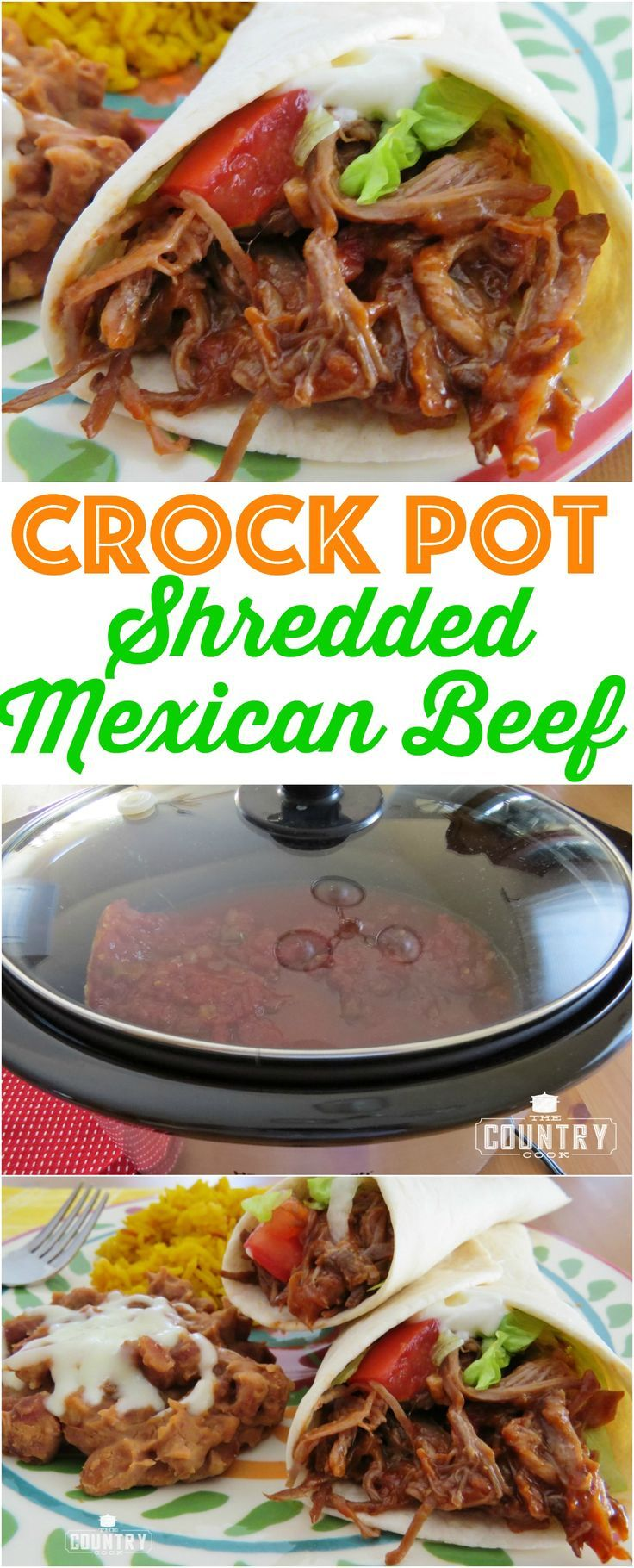 Crock Pot Mexican Shredded Beef recipe from The Country Cook