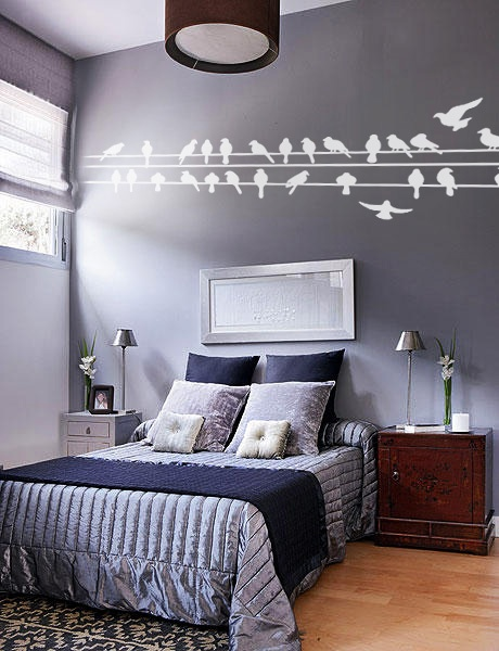 Pajaros en el alambre. Wall decal Vinil decorativo Birds