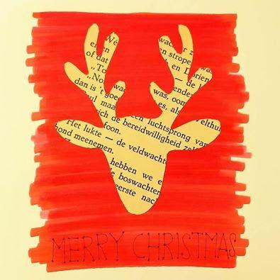 - Zoek een eenvoudig kerstmotief en knip deze vorm uit uit een losse boekpagina - Neem een blanco kaart en schilder er met vlugge, nonchalante streken een rood vlak op. - Lijm de kerstvorm uit boekpapier hierop - Schrijf of stempel je kerstboodschap erbij.  Zo eenvoudig kan het zijn!