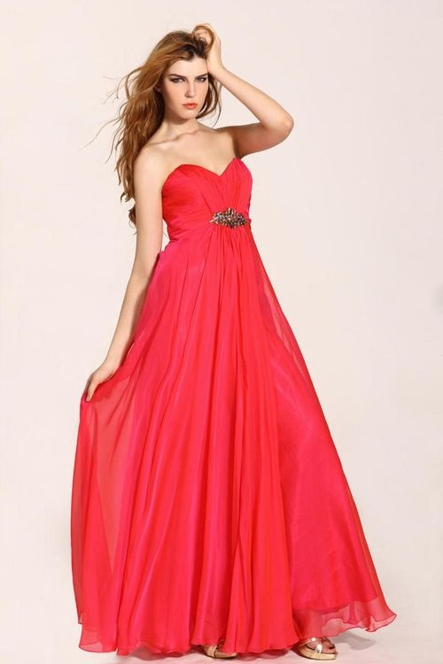 $134 Red Prom Dresses - Brush Train Chiffon A Line Sweetheart Red Evening Dress at www.promdressbycolor.com #Red Prom Dresses