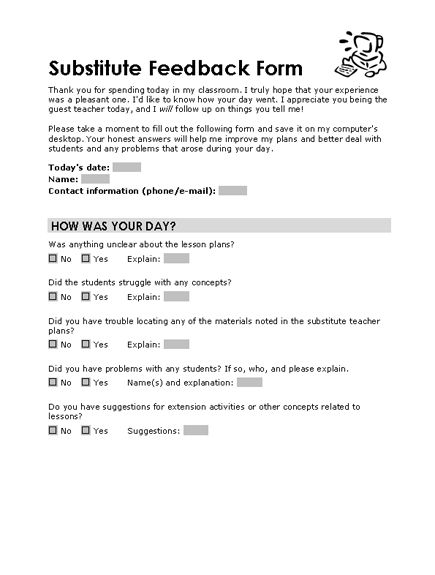 Substitute feedback form - Templates - Office.com