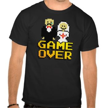 """(multiple products selected)Getting married? Know someone who is? Say """"Game Over"""" with this original, 80s 8-bit video game inspired design! #multiple #products #selected #game #over #marriage #game #over #wedding #bride #groom #bachelor #bachelorette #bachelor #party #nintendo #atari #arcade #funny #gag #gift #pixel #8-bit #gamer #gaming #nerd #geek #party #wedding #game #over #marriage #shower"""