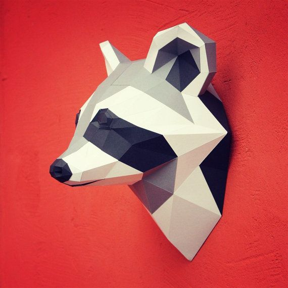 You can make your own raccoon head for wall decoration! Printable DIY template (PDF) contains 9 pages: the 1st page - cardboard base, 2nd - two