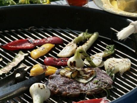 Entrecôte with teriyakiglaze and grilled vegetables