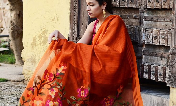 Buy Wondrous Jamdani Curated by Jaypore Cotton and Silk Jamdani Sarees and Silver Jewelry Online at Jaypore.com