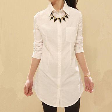 De las mujeres Simple Formal Primavera Camisa,Cuello Camisero Un Color Manga Larga Algodón / Poliéster Blanco Fino 2016 - $20.84