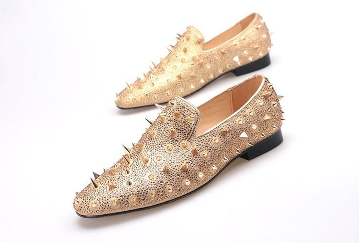 Men loafers gold and Silver Diamond rivets surface design party man flats Spiked Loafers Rivets shoes
