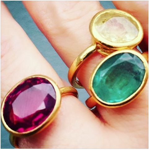 Lisa Eldridge's yellow and green sapphires, and a pinky red-violet spinel. Made by William Welstead.