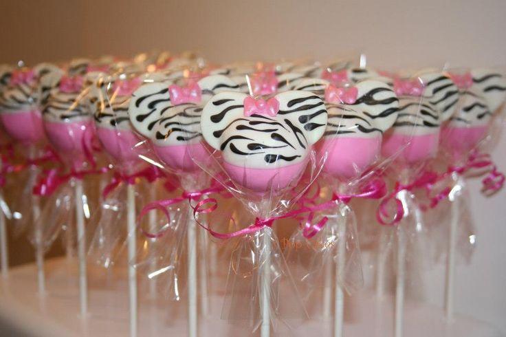 Zebra Print Minnie Mouse cake pops