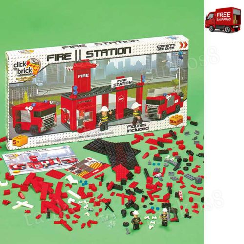Building-Set-Fire-Station-Construction-Click-Brick-Toy-Children-Play-Holiday