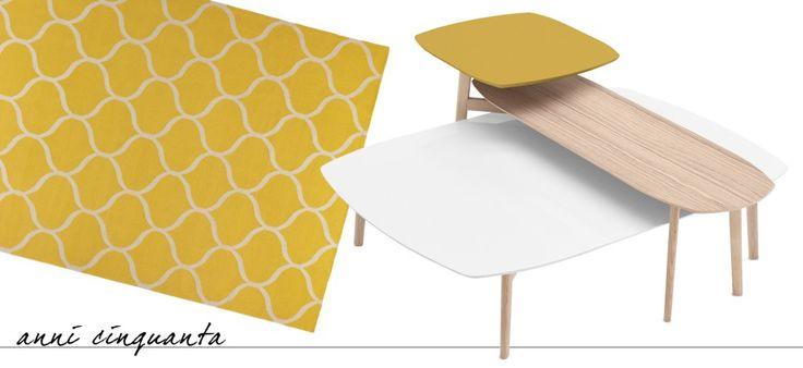 Match di Calligaris è un set di tre tavolini con la struttura in legno di frassino e il piano in diversi materiali (agglomerato di quarzo con finitura effetto marmo, mdf laccato opaco e mdf impiallacciato di legno); le differenti altezze consentono di sovrapporli per creare una composizione, inoltre è disponibile anche un modello a doppio piano. Quello bianco misura L 100 x P 135 x H 31 cm
