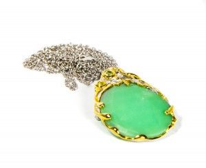 Necklace Brooch 2 in 1 Chrysoprase, Sterling Silver