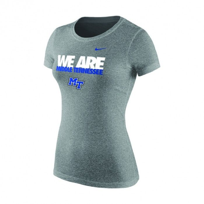 "The MTSU Nike Women's ""We Are Middle Tennessee"" tee lets everyone know who you cheer for and encourages others to get on board! Nike Swoosh logo on the left chest. #MTSU #textbookbrokers #trueblue #blueraiders #Nike"