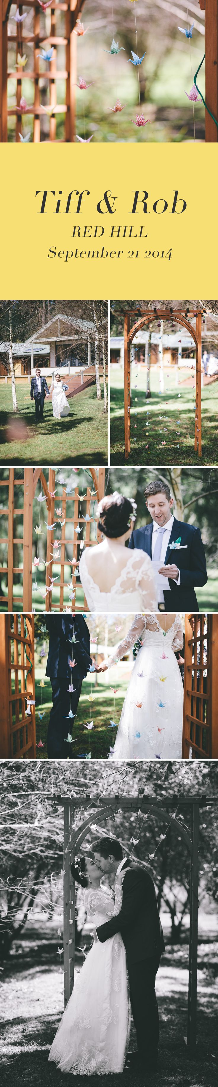 Red Hill Elopement with a backdrop of paper cranes