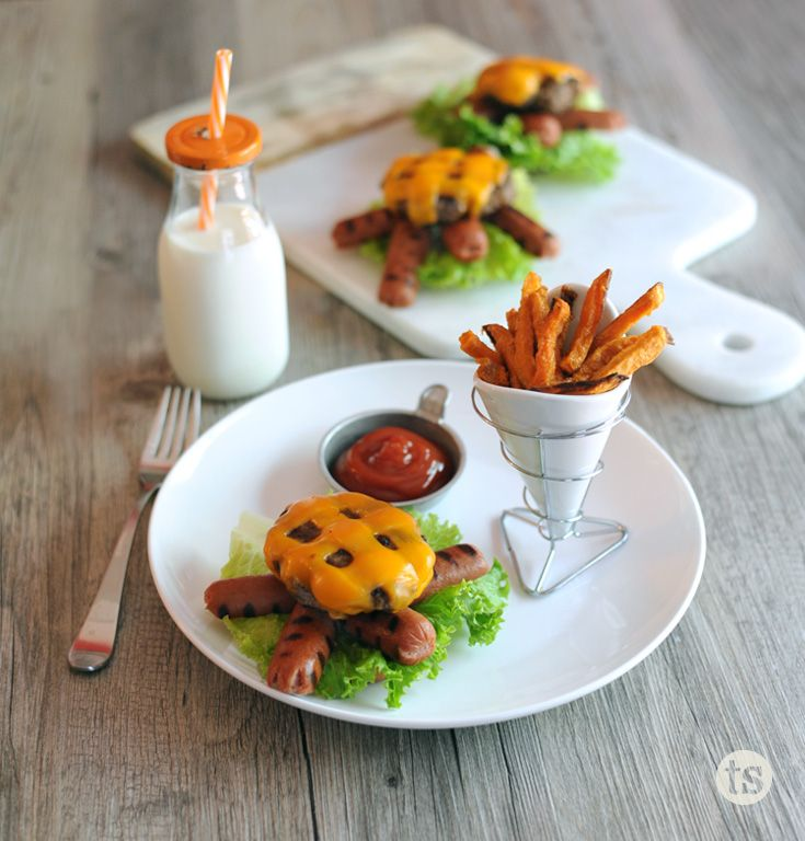 Turtle Burger Recipes │Kid-approved dinner. These juicy, smoky burgers topped with cheese and paired with a hot dog make for  a fun family meal.