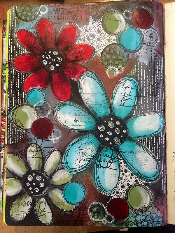Playing with a darker colour palette. Art journal page | by Tr4cy1973