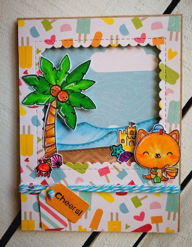 """CHEERS!"" - Scrapbook.com #echoparkpaper #summercard #mamaelephant #beach"