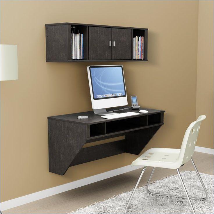 prepac designer floating desk with hutch in washed ebony finish hehw 0500 1 - Designer Computer Desks