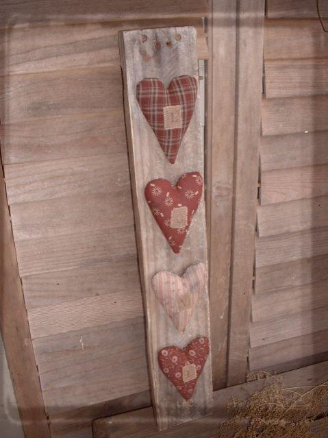 Daughternature Primitive Folk Art: Valentine Sampler, Hearts on Old Wood, etc...