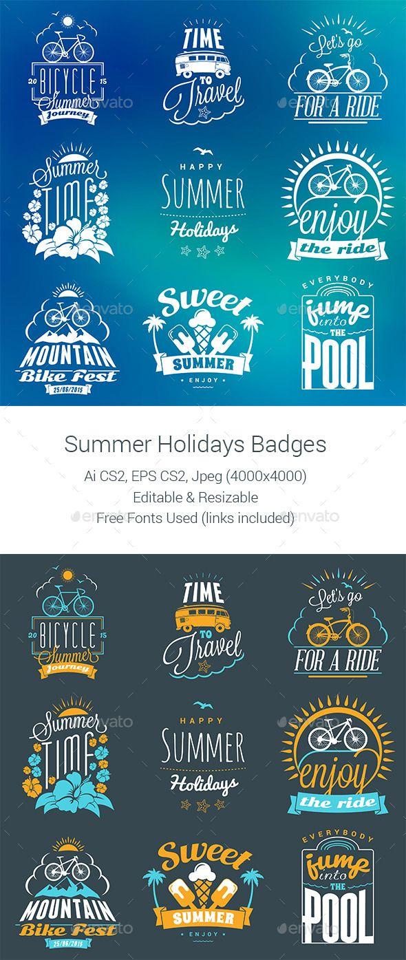 Summer Holiday Badges — Vector EPS #surfing #t-shirt • Available here → https://graphicriver.net/item/summer-holiday-badges-/11753493?ref=pxcr