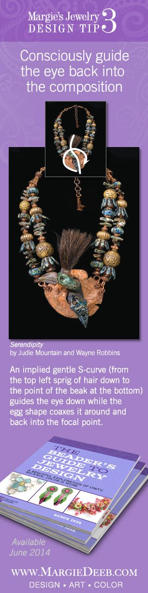A book for every jewelry designer and bead artist. The Beader's Guide to Jewelry Design takes bead artists beyond projects and kits and teaches them how to design jewelry. Learn how to guide the eye to stay within your jewelry composition, mesmerizing and enchanting it. Preorder now on Amazon for June 2014 delivery.