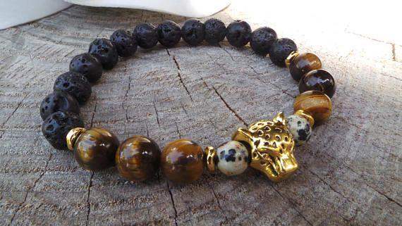 Mens lava stone bracelet. Mens gemstone bracelet.Mens charm bracelet. Mens stretch bracelet. Leopard head mens bracelet. Mens mala bracelet.