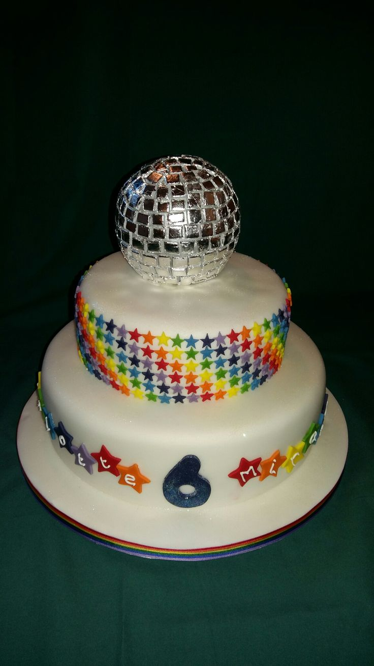 Edible Glitter Ball Rainbow Disco Dance Party Birthday