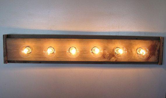 Light Fixture Reclaimed Wood 6 or 3 Bulbs for by MittenHandMade