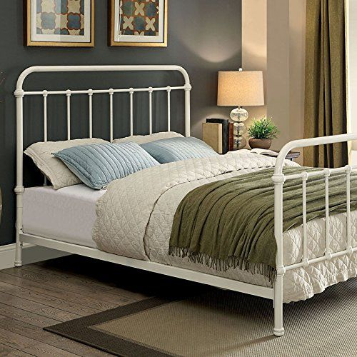 Iria Contemporary Vintage Style Rustic White Finish King Size Bed Frame Set.  Metal Twin ...