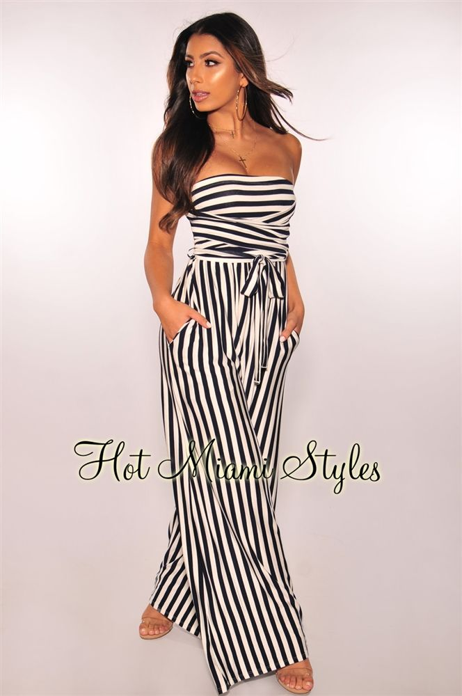b056d1f88 Navy White Striped Strapless Belted Palazzo Jumpsuit in 2019 ...