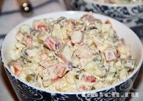 Салат с ветчиной и крабовыми палочками Ярмарка тщеславия, salaty rybnye salaty myasnye salaty