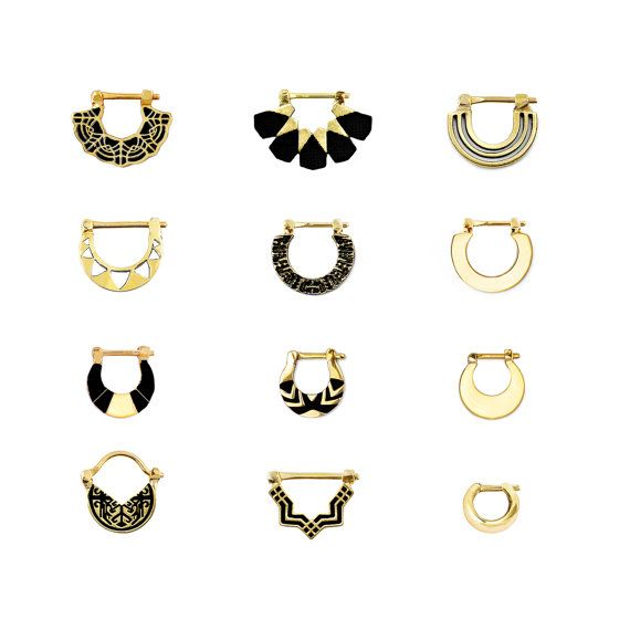 Gold Septum Ring Gold Nose Ring Parallel by eleven44jewelry…