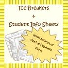 A 4-page document for 6th-9th grade classrooms that includes ice breakers, student info sheets and contact information update forms.