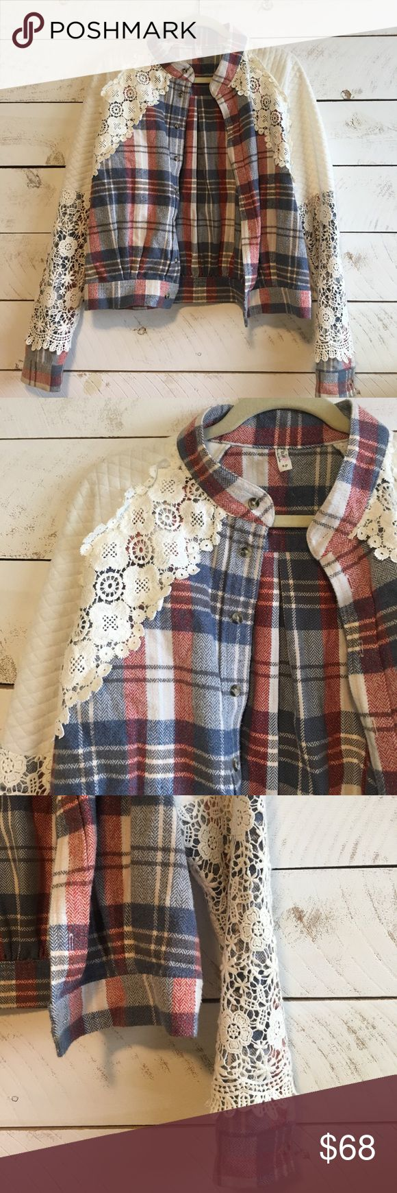 Free People Jacket Red cream and blue plaid jacket with floral embroidered detail on sleeves and across collar. So cute over a graphic tank and lightweight 100% cotton. Great condition! Free People Jackets & Coats