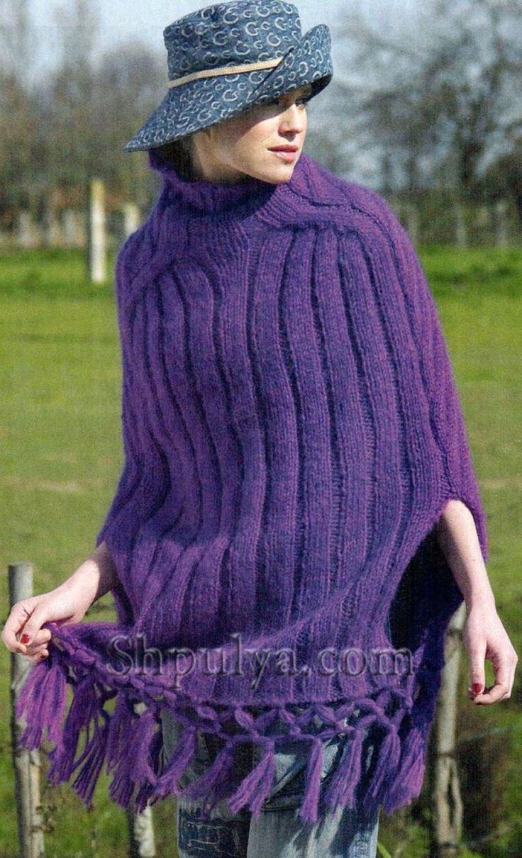 Фиолетовое пончо с бахромой, вязаное спицами