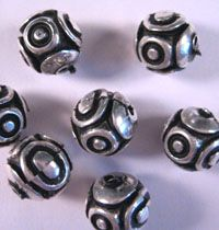 These metallic beads are lead-free, non-toxic, and will not chip, scratch or peel. Sold in packages of 60 beads. Use No. 15 eye pins or No. 5 parts unit.