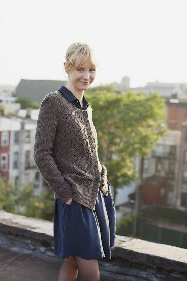 Breckon—a textured cardigan with lace panels. Brooklyntweed.