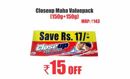 Rs 15 off on Closeup Maha Value pack worth Rs 143. Valid at all Heritage India Outlets.