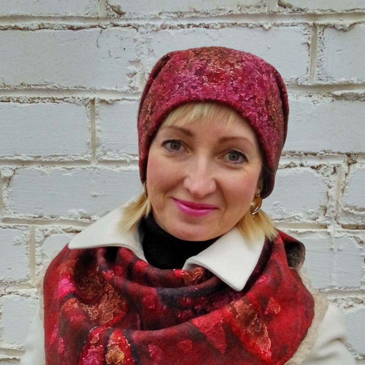 Felt hat, Women hat, felt beret, wool beret, wool cap, beret for winter, hat for winter, warm beret, warm hat, maroon hat,  red-brown hat by FeltEcoStyle on Etsy