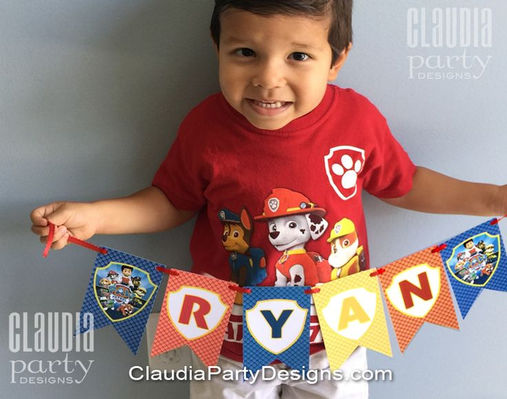 Super Cute personalized Paw Patrol Banner with your child's name and Age - Available at ClaudiaPartyDesigns.com   #pawPatrol #banner #party #decor #paw #patrol #ideas #decorations #handmade #marshall #chase #rubble #pawty #party #birthday #supplies #pennant