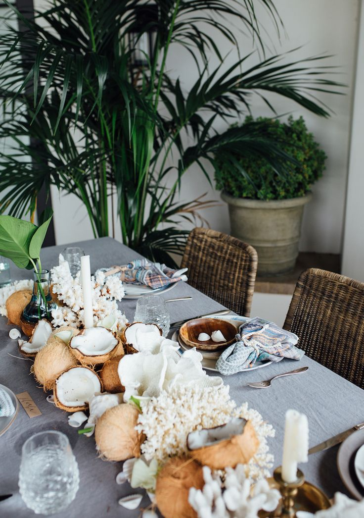 epic table runner made of coconuts and coral