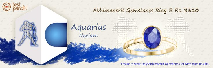 #AajmaKarDekho Abhimantrit Gemstones Ring Aquarius ( Neelam )......for more details visit http://www.buyrashiratan.com