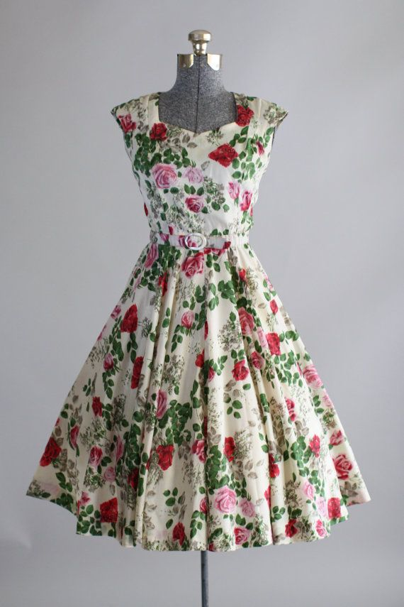 Marvelous Vintage 1950s Dress / 50s Garden Party / By TuesdayRoseVintage
