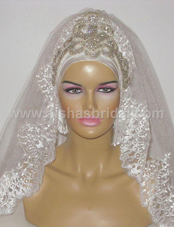 Ready To Wear Bridal Hijab  Code HGT357 by aishasbridal on Etsy, $108.85